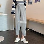 哈倫褲 新款韓版休閒運動褲百搭九分哈倫褲灰色褲子女 快速出貨
