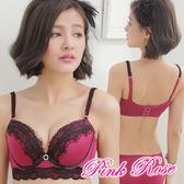 內衣 睫毛蕾絲 集中包覆馬甲成套內衣A-C罩杯(紅色)  粉紅薔薇