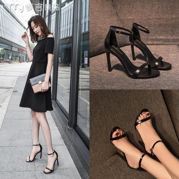 高跟鞋頭層牛皮涼鞋女一字扣帶春夏季新款細跟百搭黑色真皮高跟鞋 快速出貨