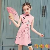 女童旗袍夏季中國風兒童裙棉麻大童裙子女夏【淘嘟嘟】