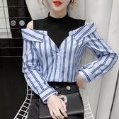 現貨寄出 秋冬新款露肩假兩件條紋襯衫女設計感小眾心機鏤空顯瘦上衣潮