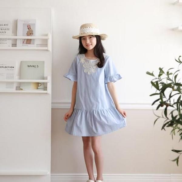 純棉 古典民俗風蕾絲洋裝 春夏童裝 女童洋裝 女童長版 女童連身裙 女童傘裙