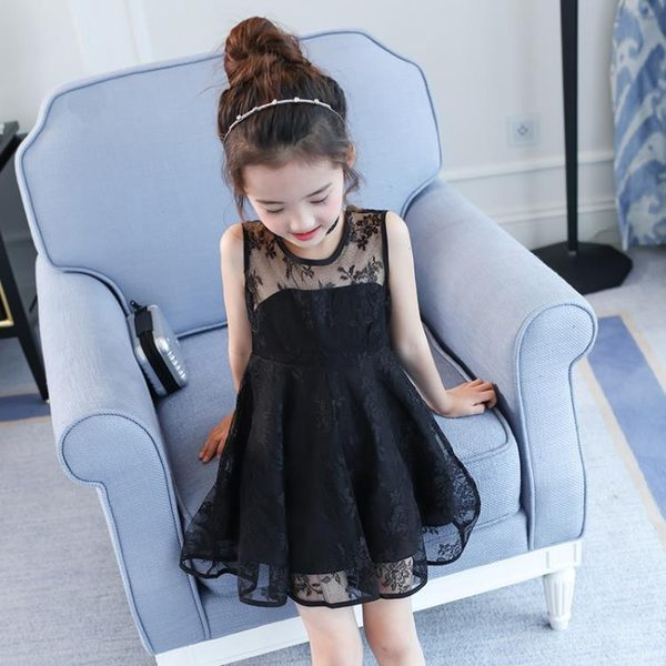 兒童夏裝女童連衣裙夏季蕾絲裙黑色背心裙2018新款女孩大童公主裙