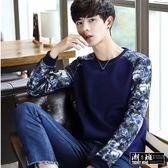 『潮段班』【HJ001245】韓版迷彩拼接袖圓領長袖T恤