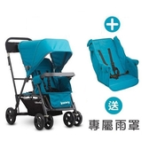 【贈雨罩】Joovy - Caboose Ultralight Graphite 新款輕量級雙人推車 - 藍+第二座椅