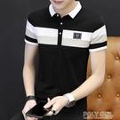 男士短袖t恤夏季純棉翻領衣服青年韓版修身帶領男裝有領polo衫潮 夏季新品