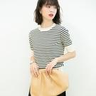 渡假風條紋針織上衣針織衫t恤【80-14...