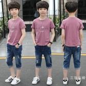 套裝男童夏裝2019新品帥氣套裝中大童兒童裝夏季韓版男孩兩件式套裝12歲潮