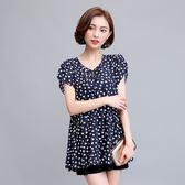 FINDSENSE G5 韓國時尚 大碼 女裝 夏裝 加大 短袖 波點 雪紡衫 優雅 舒適 上衣