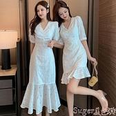 魚尾洋裝 夏季超仙女白色魚尾連身裙氣質顯瘦裙子森系法式顯瘦顯高過膝長裙  新品