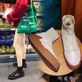 歐美的鞋子女透氣襪子鞋高筒學生乞丐鞋平底板鞋 盯目家