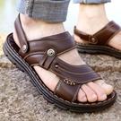 涼鞋男 地攤涼鞋男2021夏季新款男士休閒沙灘鞋拖鞋厚底鞋子真皮 16【618特惠】
