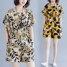 休閒套裝 2021夏季新款胖MM寬松顯瘦圓領短袖大碼五分短褲印花棉麻套裝女