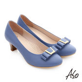 A.S.O 逸麗知性 真皮蝴蝶結窩心木紋中跟鞋  淺藍