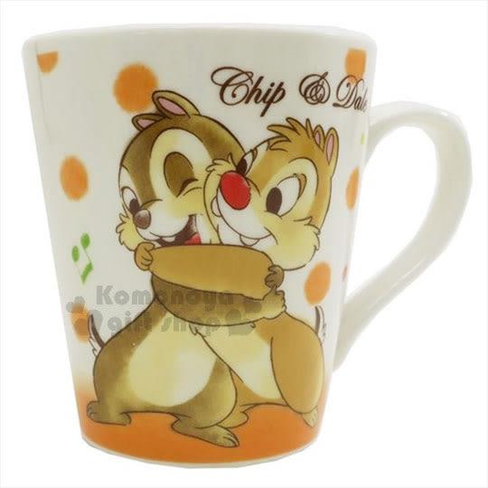 〔小禮堂〕迪士尼 奇奇蒂蒂 陶瓷馬克杯《橘白.音符.擁抱》精美盒裝 4548626-06527