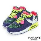 PLAYBOY 異素材 拼接 慢跑運動休閒鞋 -藍