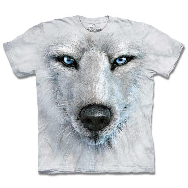 【摩達客】 (預購)美國進口【The Mountain】自然純棉系列 藍眼白狼臉 T恤(10413045023a)
