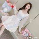法式小香風洋裝2021年春季新款時尚方領收腰顯瘦名媛氣質打底裙 蘿莉新品