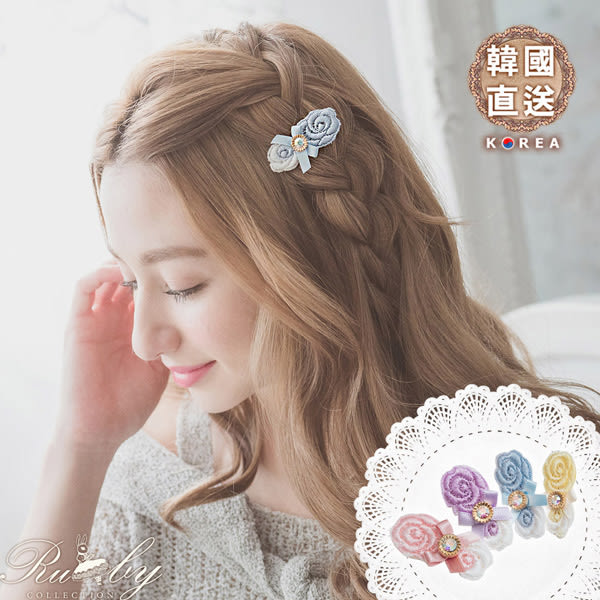 髮飾 韓國直送配色花朵水鑽蝴蝶結髮夾-Ruby s 露比午茶