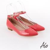 A.S.O 百變女伶 時尚亮面奈米低跟鞋 粉橘