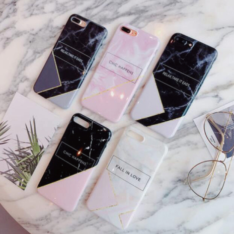 【R】英字 金線拼接 簡約 大理石 IMD 手機殼 iPhone 8 plus I7 X 蘋果 全包邊軟殼
