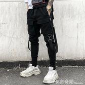 暗黑系發型師多口袋工裝褲國潮飄帶裝飾男士哈倫褲小腳褲 卡布奇諾