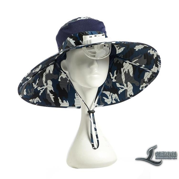 帶風扇的帽子男太陽能充電防曬遮陽制冷多功能漁夫頭戴大檐【邻家小鎮】