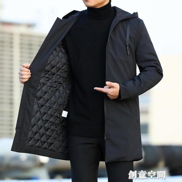 風衣男中長款加棉 2021秋冬保暖外套 時尚休閒純色大碼連帽大衣男 創意新品