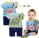 短袖連身衣男Baby男童純棉可愛貼布小恐龍短袖連身衣-現貨- 出口歐美品質
