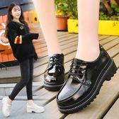 韓版時尚小皮鞋英倫風粗跟鞋學生百搭圓頭女鞋女鞋