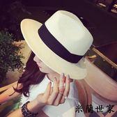 夏天帽子英倫白色女士草帽爵士帽禮帽