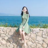 降價兩天-長袖洋裝秋冬新品氣質修身中長版毛衣內搭打底裙長袖針織連身裙潮
