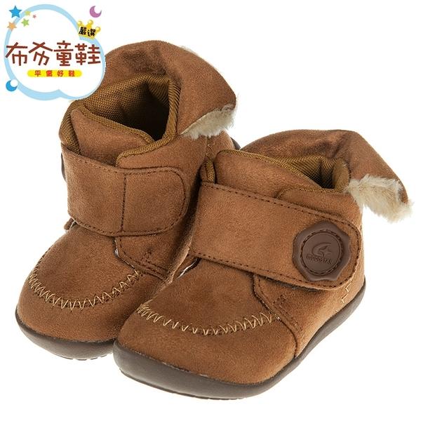 《布布童鞋》Moonstar日本HI系列棕色麂皮寶寶機能學步鞋(13~16公分) [ I8P043I ]