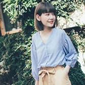 Queen Shop【01095974】V領藍白細條袖鬆緊襯衫*預購*