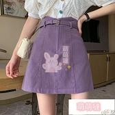 休閒短裙 高腰A字半身裙女夏季小個子防走光包臀裙子紫色牛仔短裙 【萌萌噠】