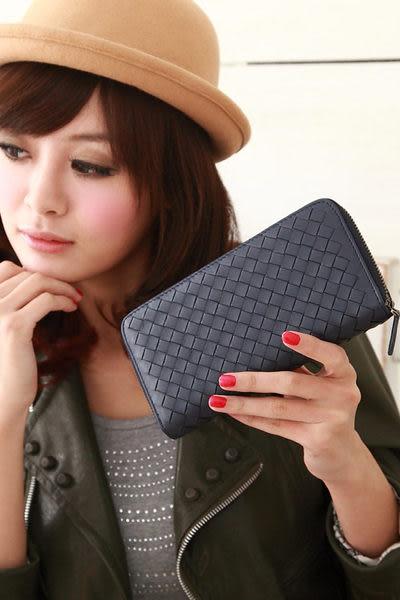 【Miyo皮夾】進口羊皮手工編織拉鍊長夾(深藍)