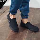 男款 歐美全黑系休閒百搭 帆布鞋 懶人鞋 休閒鞋 情侶鞋 MIT製造 59鞋廊