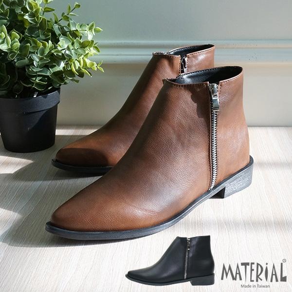 短靴 裝飾拉練尖頭短靴 MA女鞋 T2038