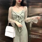 裝套裝女時尚吊帶連體褲 立體花朵蕾絲綁帶開衫兩件套