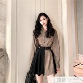 可鹽可甜炸街套裝女早春秋季冷淡風洋氣小個襯衫百褶洋裝兩件套 夏季新品