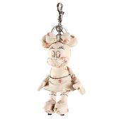 COACH DISNEY MINNIE米妮玩偶造型花花皮革鑰匙圈(白色)198256-1