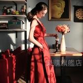 短袖洋裝 新款紅色連衣裙夏女一字領中長款吊帶裙沙灘裙度假禮服裙長裙【全館88折起】