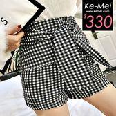 克妹Ke-Mei【ZT48111】歐美時髦感氣質格紋假二件綁帶蝴蝶結短褲
