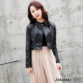 韓版機車高腰皮衣女超短款修身