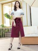 春裝上市[H2O]可露肩兩穿刺繡波浪袖雪紡上衣 - 黑底白點/白/淺紫色 #9675019