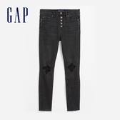 Gap女裝 個性做舊風格破洞牛仔褲 603802-水洗黑