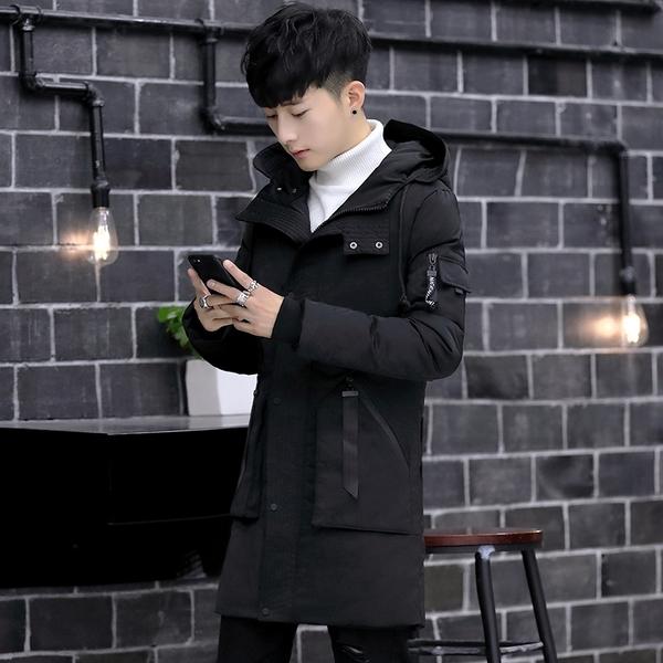 時尚中長款夾克外套加絨 韓外套保暖羽絨外套 冬季青年潮流棉服 百搭加厚男生外套男士外套厚款