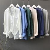 長袖襯衫-棉麻簡約純色休閒百搭女上衣5色73qt8【巴黎精品】