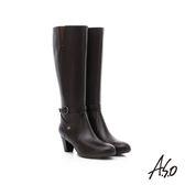 A.S.O 優雅時尚 全真皮側拉鍊奈米中跟長靴  咖啡