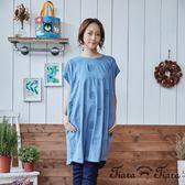 【Tiara Tiara】民俗風緹花寬版純棉洋裝(藏青/天藍)